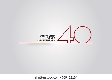 40 Years Anniversary logotype with red colored font numbers made of one connected line, isolated on white background for company celebration event, birthday