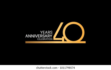 40 years anniversary logotype with single line golden and silver color for celebration
