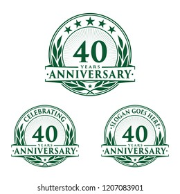 40 years anniversary set. 40th celebration logo collection. Vector and illustration.