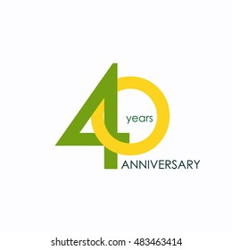 40 years anniversary, signs, symbols, which is yellow and green with flat design style