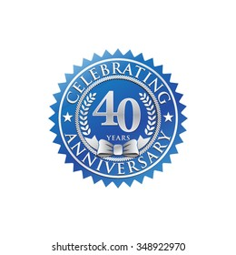 40 years anniversary silver blue badge logo