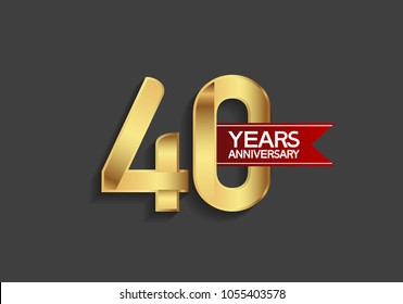 40 years anniversary simple design with golden color and red ribbon isolated on black background for celebration event