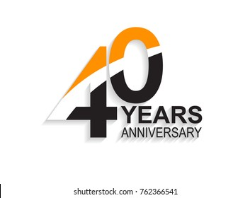 40 years anniversary simple design with white slash in orange and black number for celebration event