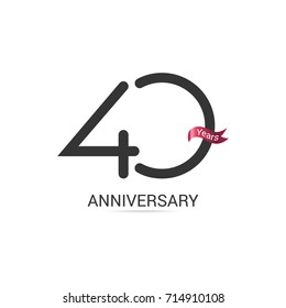 40 Years  Anniversary Simple Logo Celebration Isolated on White Background