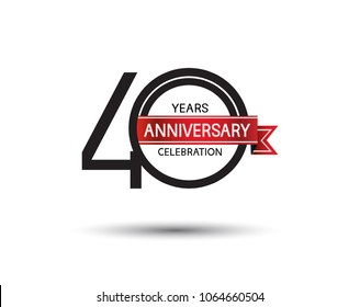 40 years anniversary simple logotype with black color with red ribbon isolated on white background for celebration event
