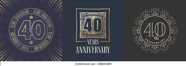 40 years anniversary vector icon,  logo set. Graphic round gold color design elements for 40th anniversary banner