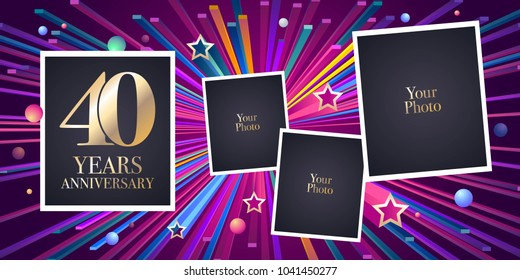 40 years anniversary vector icon, logo. Design element, greeting card with collage of photo frames for 40th anniversary