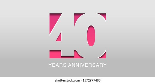 40 years anniversary vector icon, symbol, logo. Graphic background or card in modern style for 40th anniversary birthday celebration