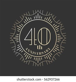 40 years anniversary vector icon, logo. Graphic design element for 40th anniversary birthday card