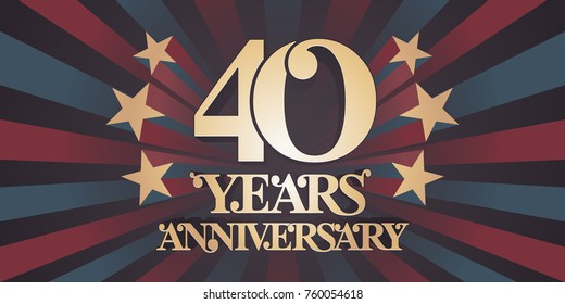 40 years anniversary vector icon,  logo, banner. Design element with abstract vintage background for 40th anniversary card