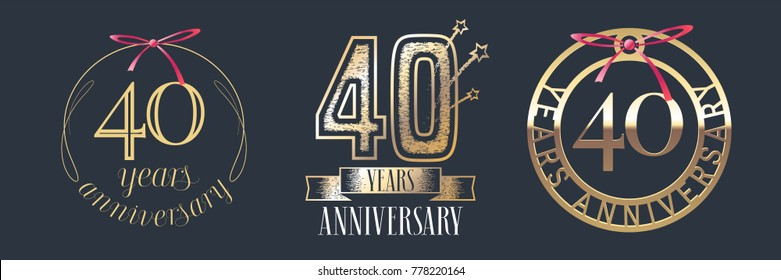 40 years anniversary vector icon,  logo set. Graphic design element with  golden numbers for 40th anniversary celebration