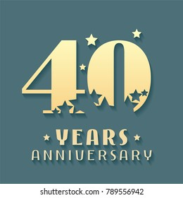40 years anniversary vector icon, symbol, logo. Graphic design element for 40th anniversary birthday card