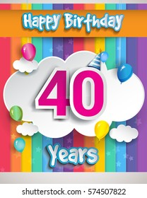 40 Years Birthday Celebration, with balloons and clouds, Colorful Vector design for invitation card and birthday party.