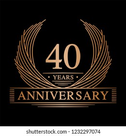 40 years design template. 40th anniversary. Vector and illustration.