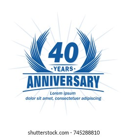 40 years design template. Anniversary vector and illustration template.