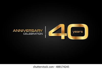 40 years gold anniversary celebration logo, isolated on dark background
