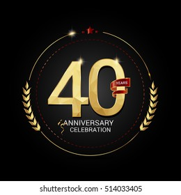 40 years golden anniversary logo with red ribbon, low poly design number, isolated on black background