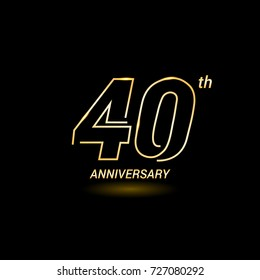 40 years golden line anniversary celebration logo design