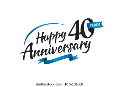 40 years happy anniversary celebration with blue swoosh and blue ribbon isolated on white background