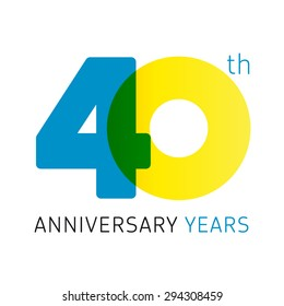 40 years old celebrating classic logo. Anniversary year of 40 th vector numbers. Birthday greetings celebrates with transparency. Traditional digits of jubilee ages. Colored letter O.