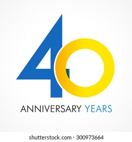 40 years old celebrating classic logo. Anniversary year of 40 th vector template. Birthday greetings celebrates. Traditional digits of jubilee ages in a shape of rings.