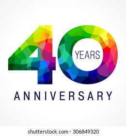 40 years old celebrating colored logo. Anniversary 40 th vector template numbers. Happy birthday greetings celebrates. Stained-glass digits of jubilee ages. Mosaic pattern figures in various colors.