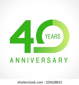 40 years old celebrating logotype. Colored happy anniversary 40 th template numbers. Greetings celebrates. Traditional connected form of ages. Special prize, % off. Card's or label's idea.