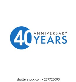 40 years old round logo. Anniversary year of 40 th vector banner numbers. Birthday greetings circle celebrates. Celebrating digits. Colored figures of ages.