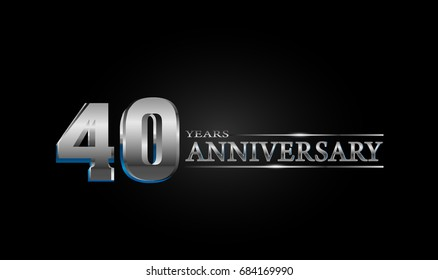 40 Years silver anniversary celebration logo, anniversary for celebration, birthday, wedding and party