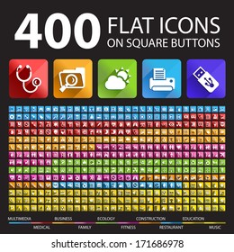 400 Flat Icons on Square Buttons.