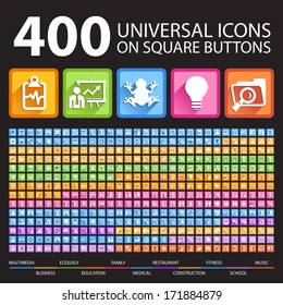 400 Universal Icons on Square Icons.