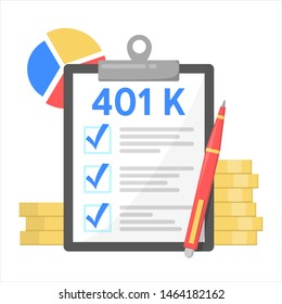 401K financial plan, investment in retirement. Pension savings account concept. Isolated vector illustration in cartoon style