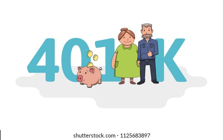 401K pension account, retirement. Acronym with characters, letters and text. Colored flat vector illustration on white background.