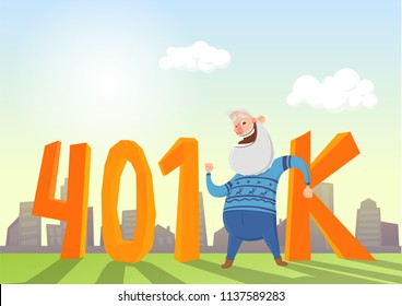 401K pension account, retirement. Happy elderly man in fron of letters and cityscape. Colored flat vector illustration.