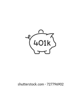 401K retirement plan piggy bank thin line icon