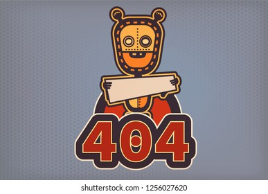 404 bot with banner at his hand. Retro styled vector image. Flat image with robot.