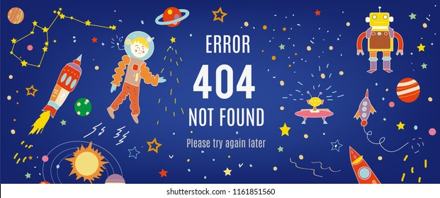 404 error banner with cosmos and spaceships. Vector graphic illustration