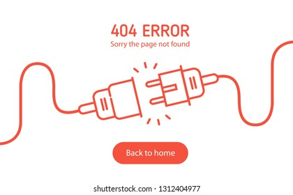 404 error Electric Plug and Socket unplugged - red flat line minimalistic design web banner.  Electrical theme web banner, disconnection, loss of connect. Vector illustration