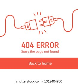 404 error Electric Plug and Socket unplugged - flat line minimalistic banner in white background. Concept of Electrical theme sqare web banner, disconnection, loss of connect. Vector illustration