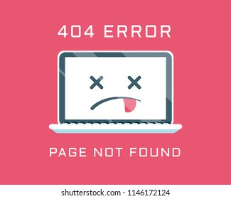 404 error like laptop with dead emoji. cartoon flat minimal trend modern simple logo graphic design isolated on red background. concept of page not found or web site under construction or maintenance