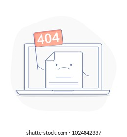 404 Error Page concept or File not found icon. Cute cartoon web page with flag 404 on laptop display. Modern flat outline icon, isolated vector illustration.
