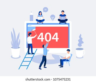 404 error page design concept. Laptop screen with error. Small people repair the site with a problem. Trendy flat style. Vector illustration.