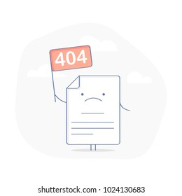 404 Error Page or File not found icon. Cute upset Page with flag 404 symbol. Oops or Connection Problem, Page does not exist concept. Flat modern outline icon concept, isolated vector illustration.