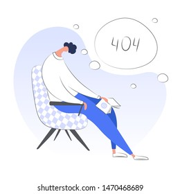 404 Error Page or File not found icon, page loading screen, not working error page or search time put. Page with tired sleeping guy and 404 symbol. Flat modern isolated ui vector illustration on white