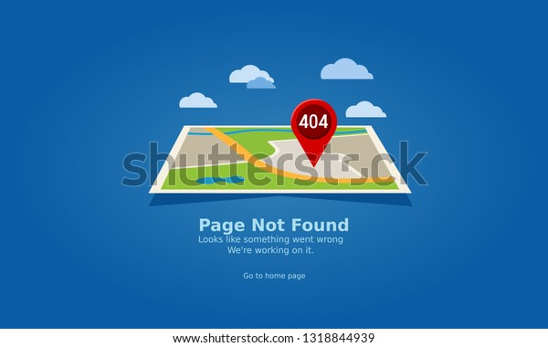 404 Error Page Maps Navigation Red Stock Vector (Royalty