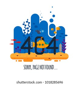 404 error page not found concept with undersea world isolated on white background. Yellow submarine with periscope - flat vector illustration