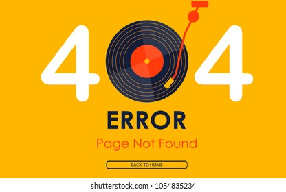 404  error page not found vector vinyl music graphic background