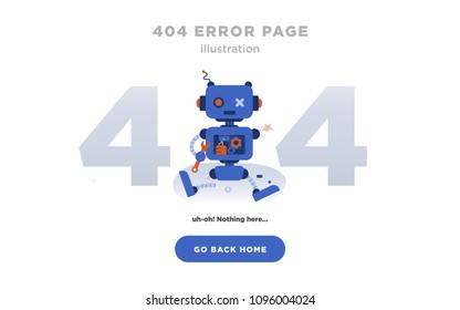 404 Error Page Not Found Design with Broken Robot