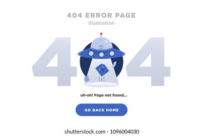 404 Error Page Not Found Design with UFO, extraterrestial