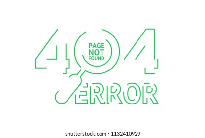 404 error page not found, isolated lines style in white background. Vector template with magnifier (loupe) for search. Concept layout for web page. Green flat lines